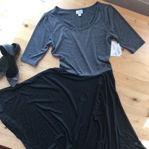 LuLaRoe M Nicole short sleeve gray/black dress